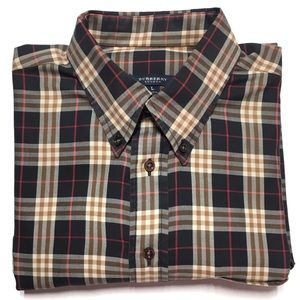 Burberry Checkered Brown Button Down Shirt Large